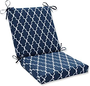 "Pillow Perfect Outdoor/Indoor Garden Gate Square Corner Chair Cushion, 36.5"" x 18"", Navy"