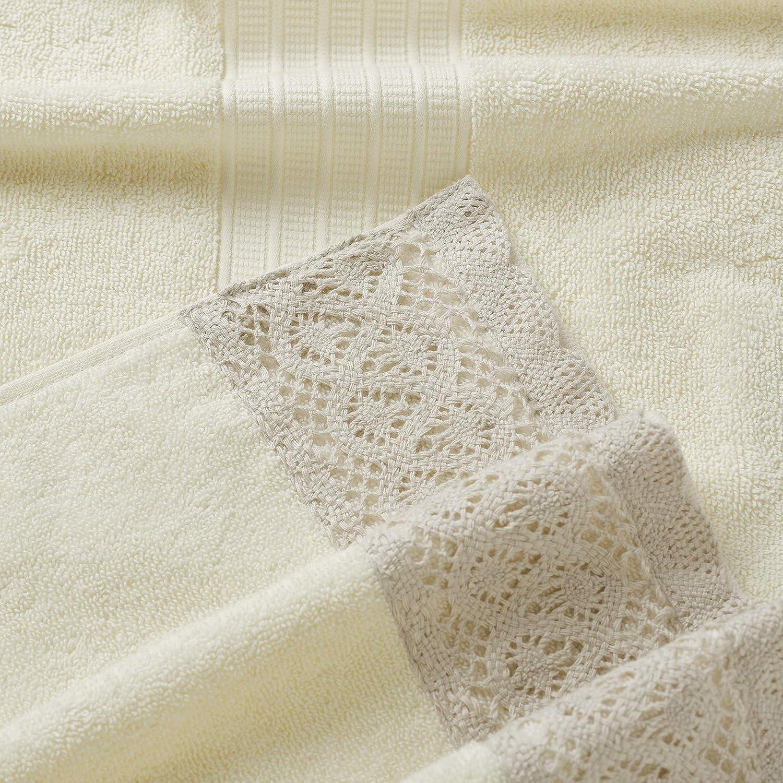 Amrapur Overseas 600 GSM 6-Piece Towel Set with Lace Hem White//Silver