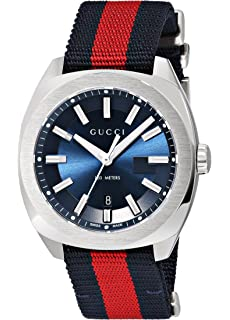 Gucci Swiss Quartz Stainless Steel and Nylon Dress Blue and Red Mens Watch(Model: