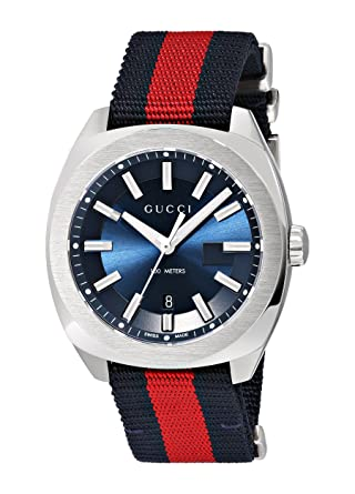 06975bd623d Gucci Swiss Quartz Stainless Steel and Nylon Dress Blue and Red Men s Watch (Model