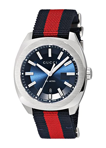 4e84fab0e60 Amazon.com  Gucci Swiss Quartz Stainless Steel and Nylon Dress Blue and Red Men s  Watch(Model  YA142304)  Watches