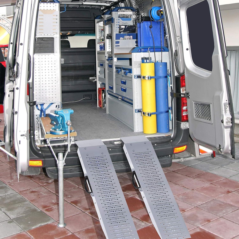 Stalwart 75-CAR1066 Loading Steel Ramp Set for ATVs Carts /& More Silver Mowers Motorcycles