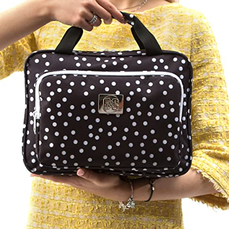 15deb244875f Large Polka Dot Travel Cosmetic Bag - Large Hanging Travel Toiletry And  Cosmetic Organizer With Many...