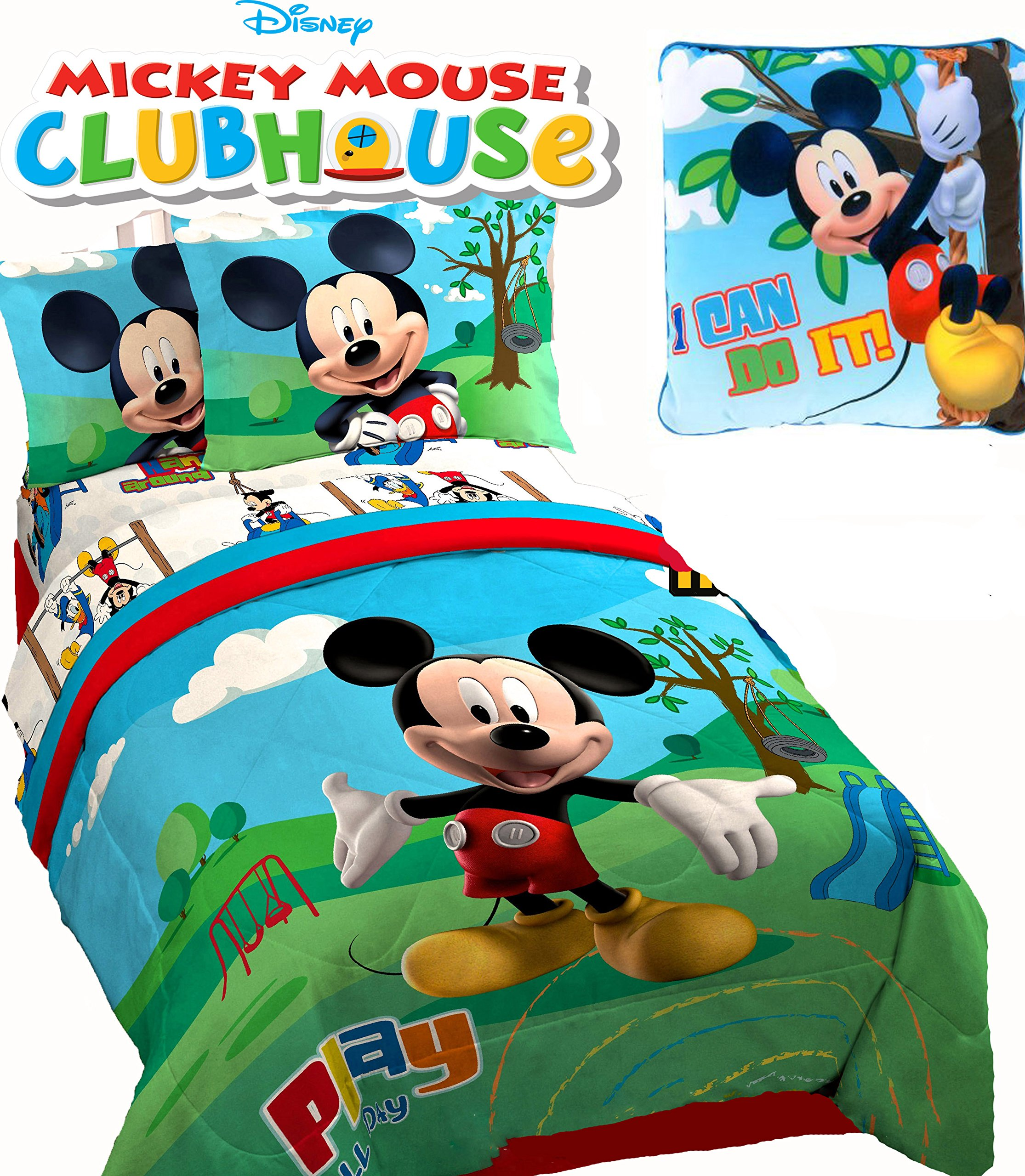 MICKEY MOUSE Club House ''Play'' TWIN SIZE COMFORTER (64'' x 86''), ONE SHAM, ONE BEDSKIRT, Twin SHEET SET & ONE TOSS PILLOW!