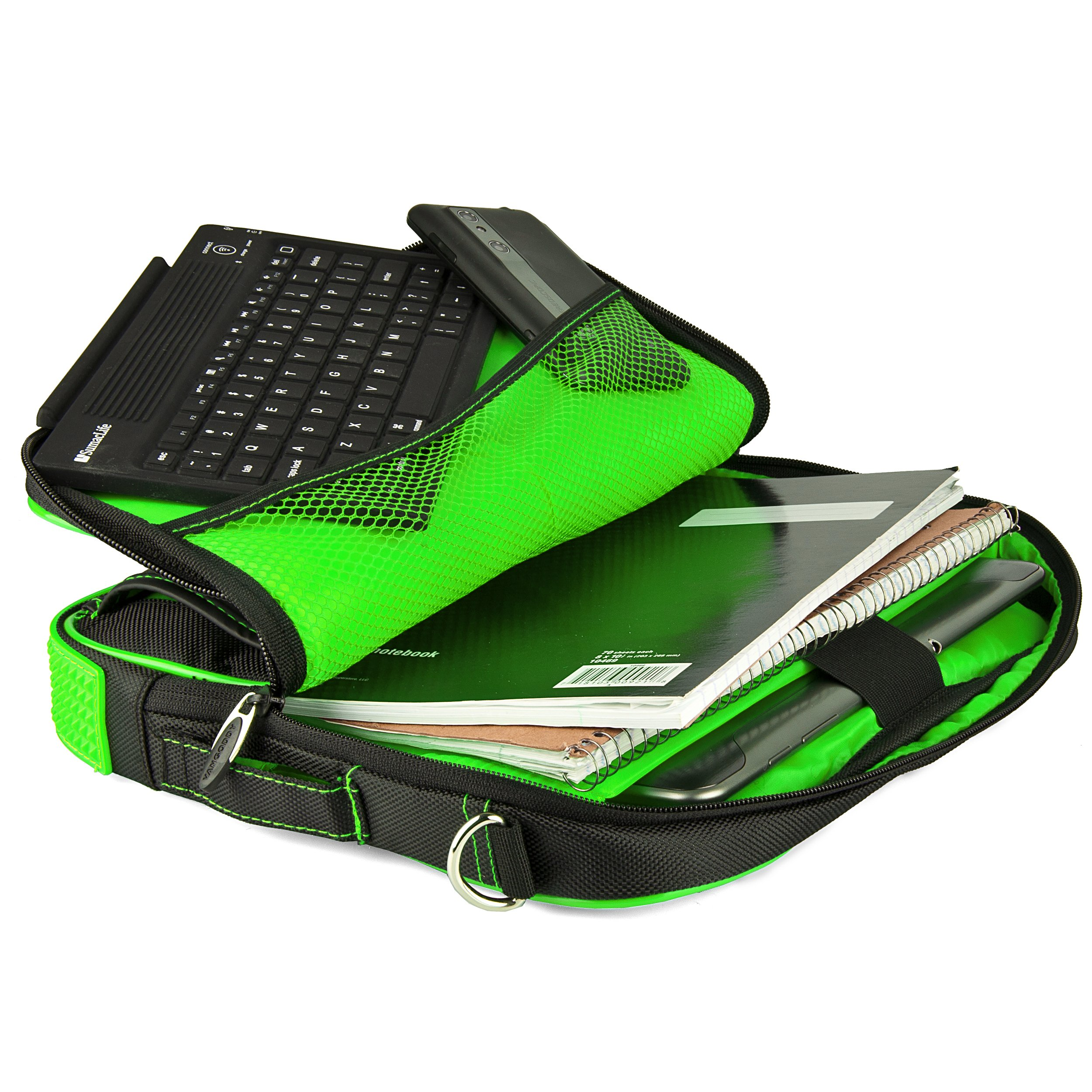 VanGoddy Pindar Messenger Carrying Bag for Samsung Galaxy Note PRO 12.2/Samsung Galaxy Tab PRO 12.2'' Tablets + Bluetooth Keyboard + Headphones (Green) by Vangoddy (Image #4)