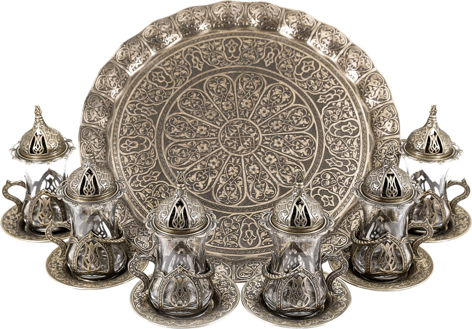 Turkish Moroccan Indian Tea Set for Six - Glasses with Brass Holders Lids Saucers Tray, Tea Cups, Tea Servers- Antique Gold- (TS-203)