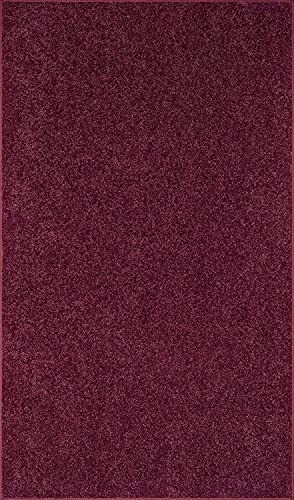American Bright Solid Color Cranberry Area Rug – 8 x10