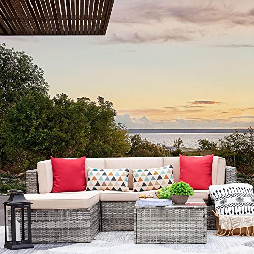 VICTONE 5 Pieces Patio Furniture Sectional Set Outdoor Clearance All Weather PE Rattan Wicker Lawn Conversation Sets Cushioned Garden Sofa Set Grey