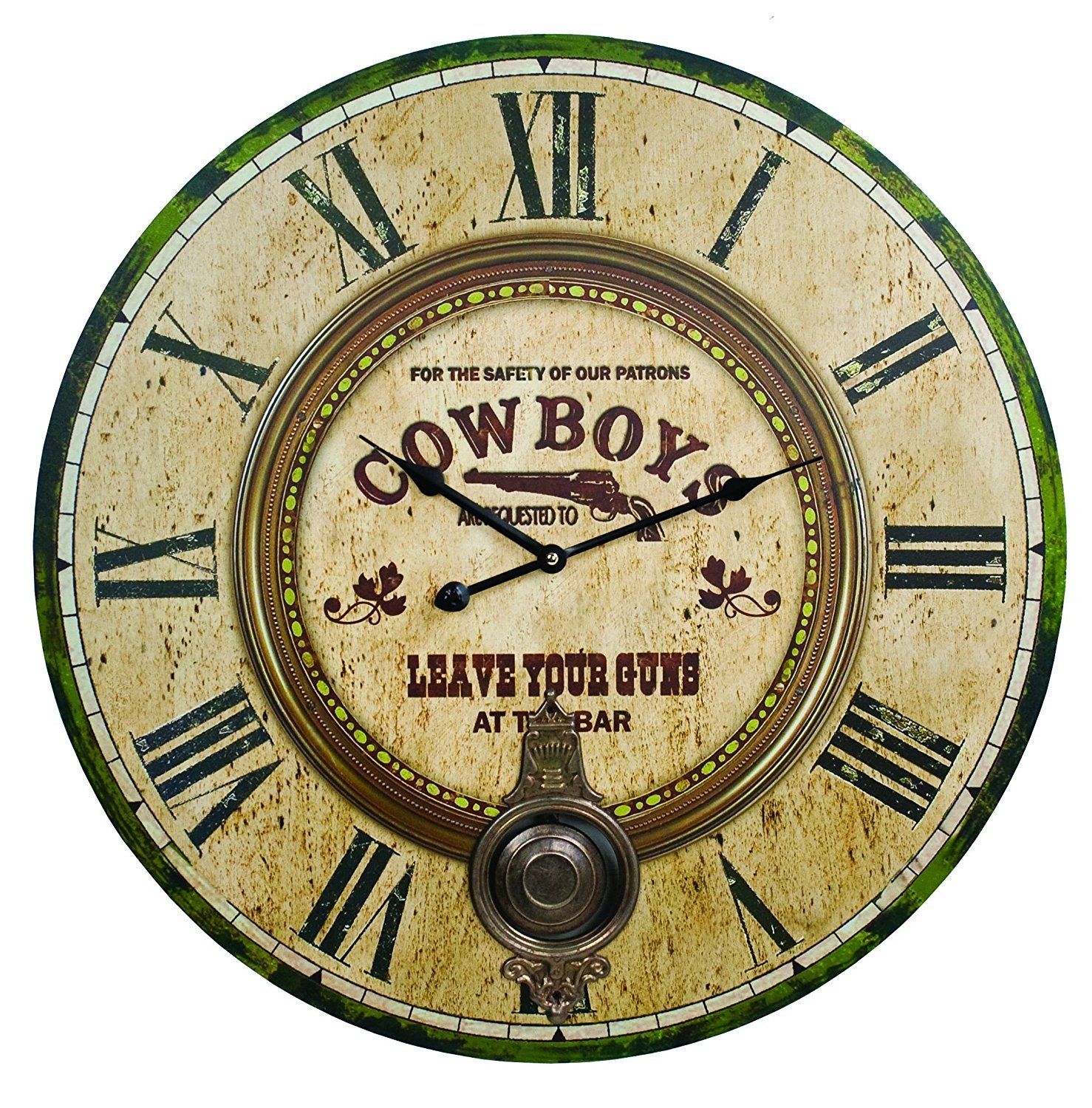 Amazon.com: Large Cowboys Western Bar Wall Clock: Home & Kitchen