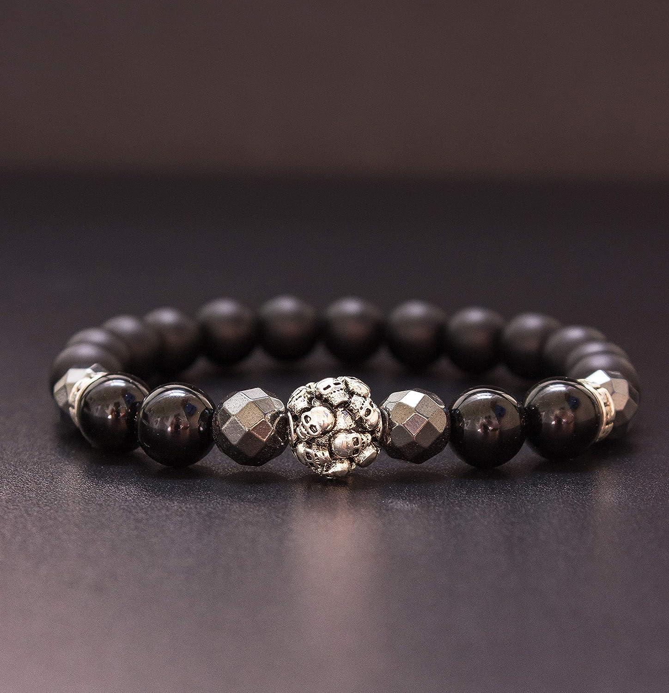 Onyx bracelet Gift for men Jewelry for men Bracelet for men Natural gemstone bracelet Skull bracelet Black beaded bracelet