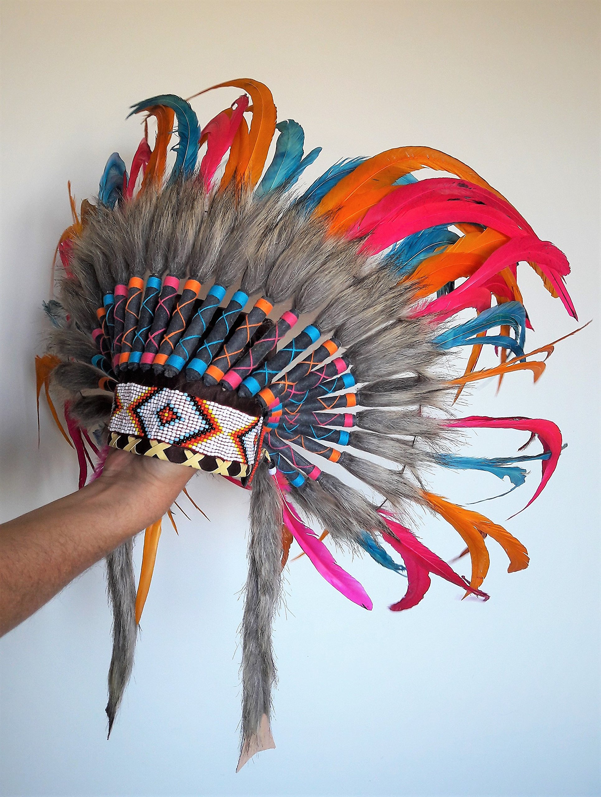 N25 - For 9 To 18 Month Toddler/Baby: Pink, Orange and Turquoise Native American Style Indian Inspired Headdress For The Little Ones ! by KARMABCN (Image #3)