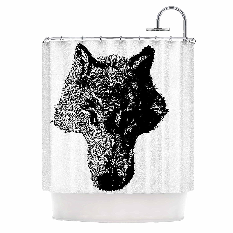 Kess InHouse BarmalisiRTB Head Coyote Black White Digital 69 x 70 Shower Curtain