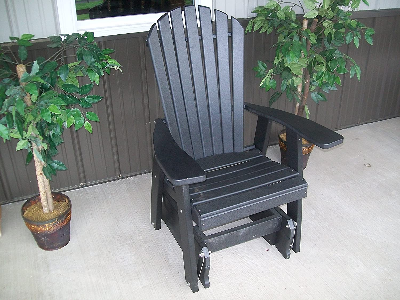 Amazon.com : Outdoor POLY Adirondack Gliding Chair   Amish Made USA  Black  : Garden U0026 Outdoor