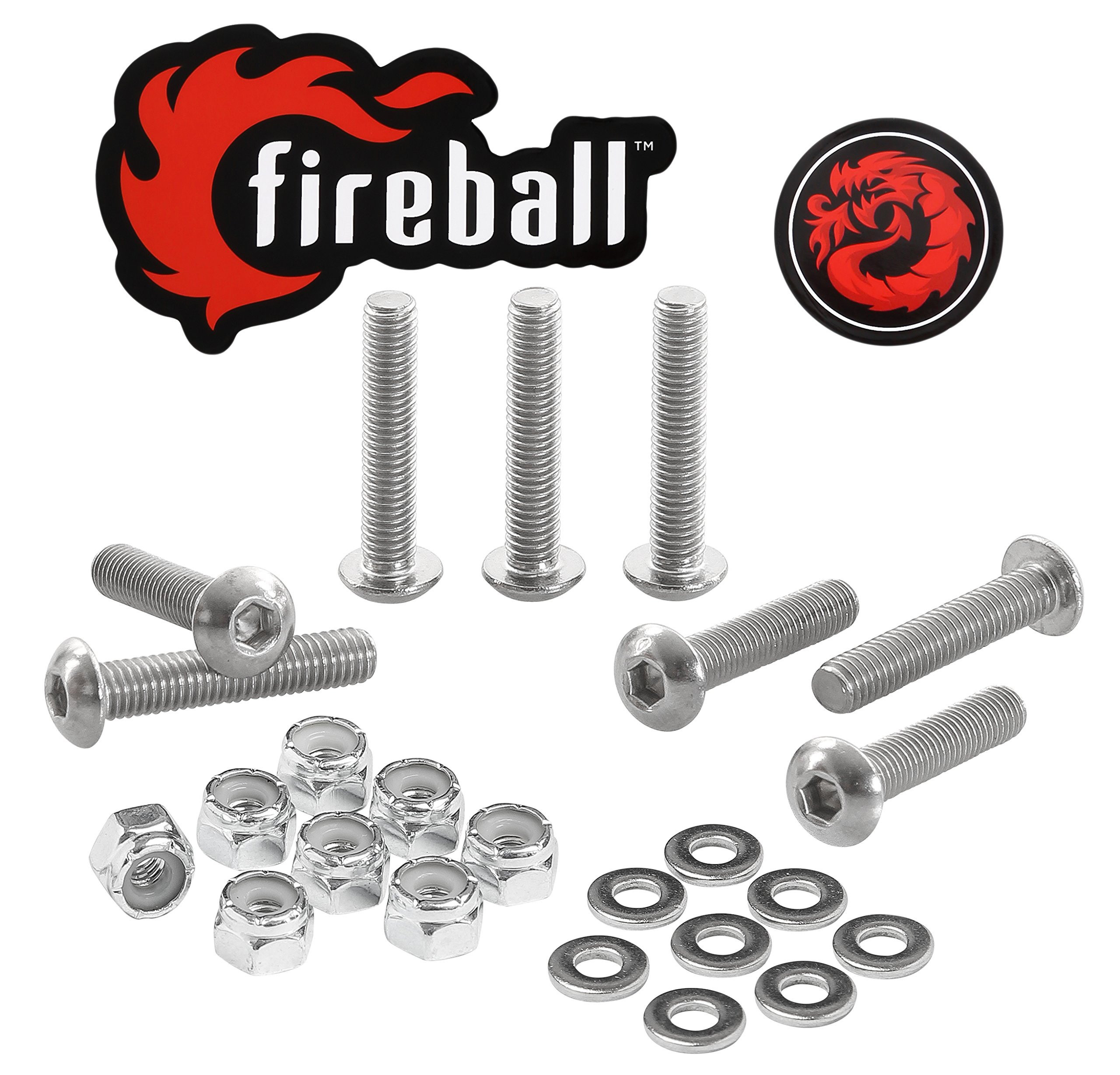 Fireball Dragon Stainless Steel Skateboard Hardware Set (Button Allen, 1.0'')