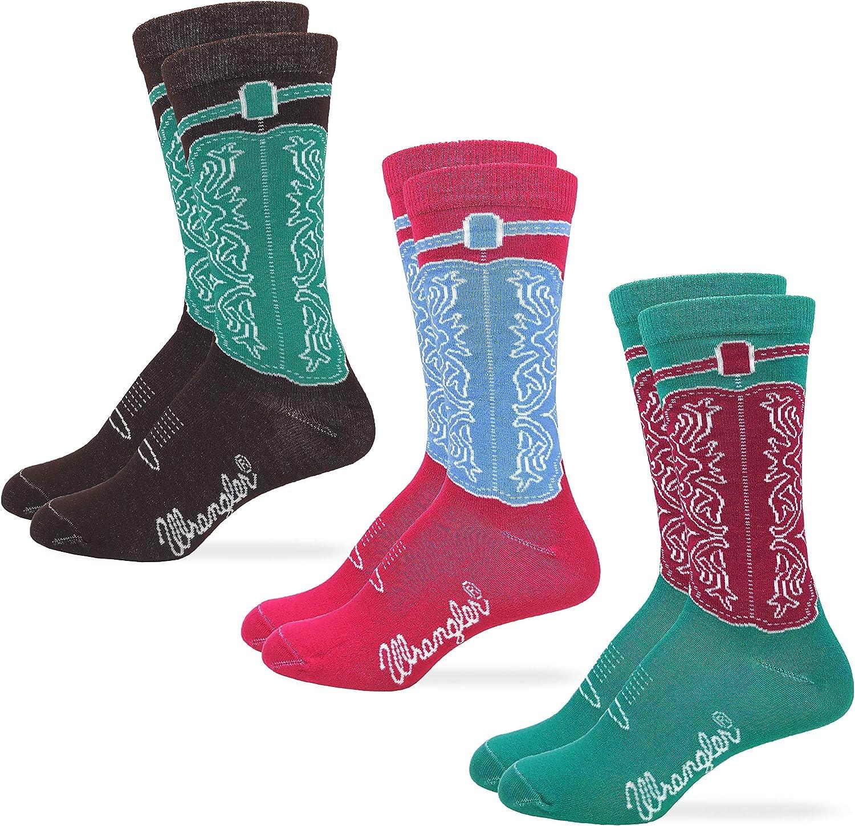 Wrangler Womens Western Cowgirl Crew Boot Socks 3 Pair Pack