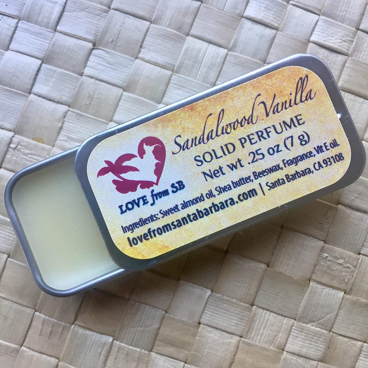 Compact Personal Sandalwood Vanilla Solid Perfume | Compact Personal Luxurious Artisan Spa Gift | Convenient, fits in your purse or travel bag | Sandalwood Perfume