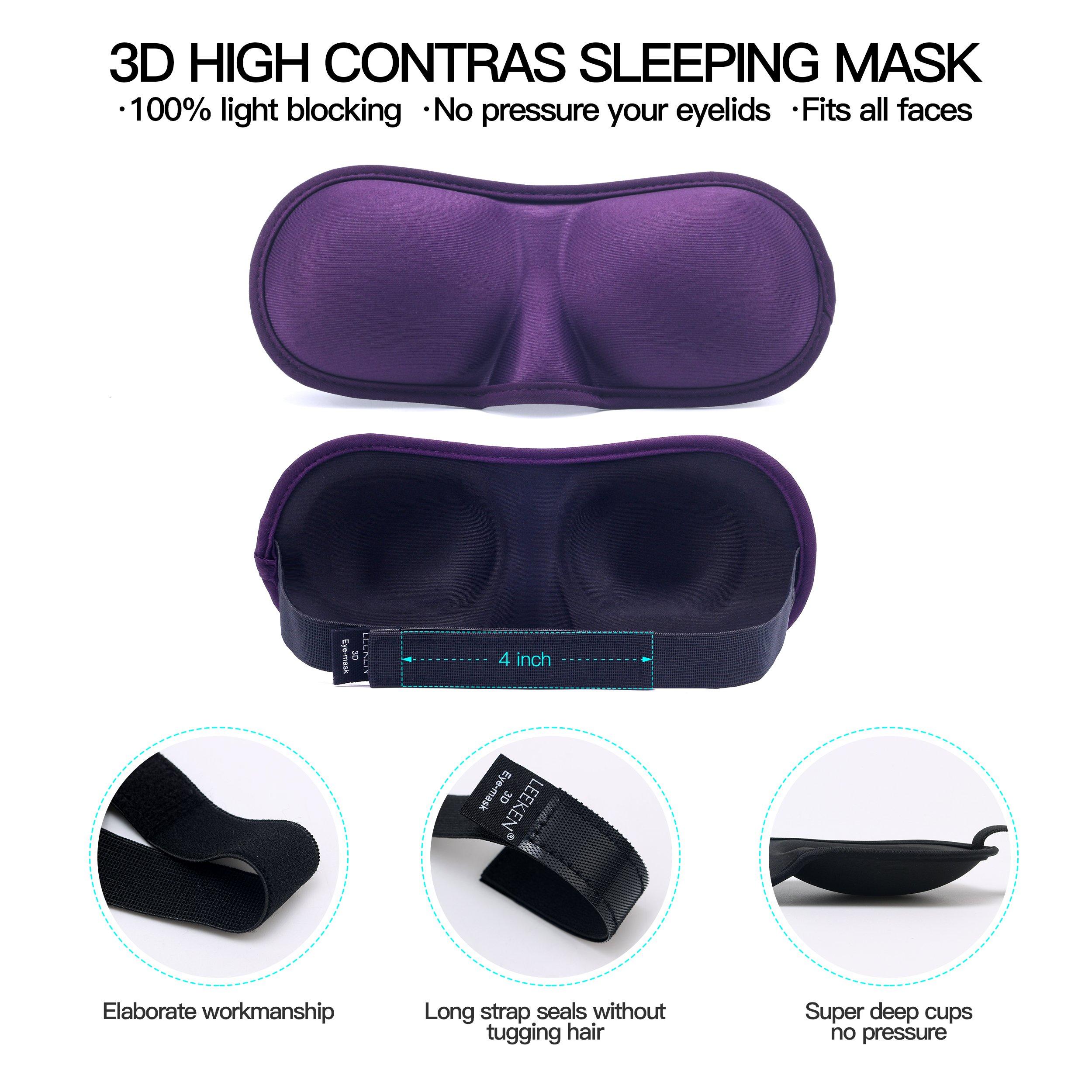 .3D Sleep Mask (Any machineable New Design 2 Pack) Eye Mask for Sleeping Locking Light 100%-Never Broken - Blindfold Airplane mask- Night Blinder Eyeshade for Men Women by leeken (Image #5)
