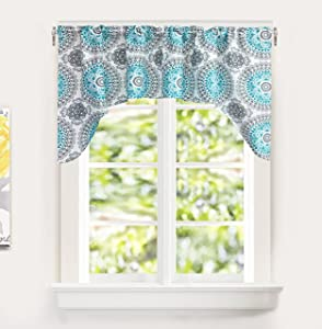 "DriftAway Bella Medallion Pattern Room Darkening Kitchen Swag Valance, Single, 60""x30"", Aqua/Gray"