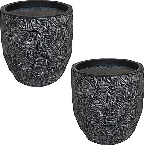 Sunnydaze Homestead Fiber Clay Planter Flower Pot, Durable Indoor/Outdoor 9-Inch Set of 2, Dark Gray Carved Stone