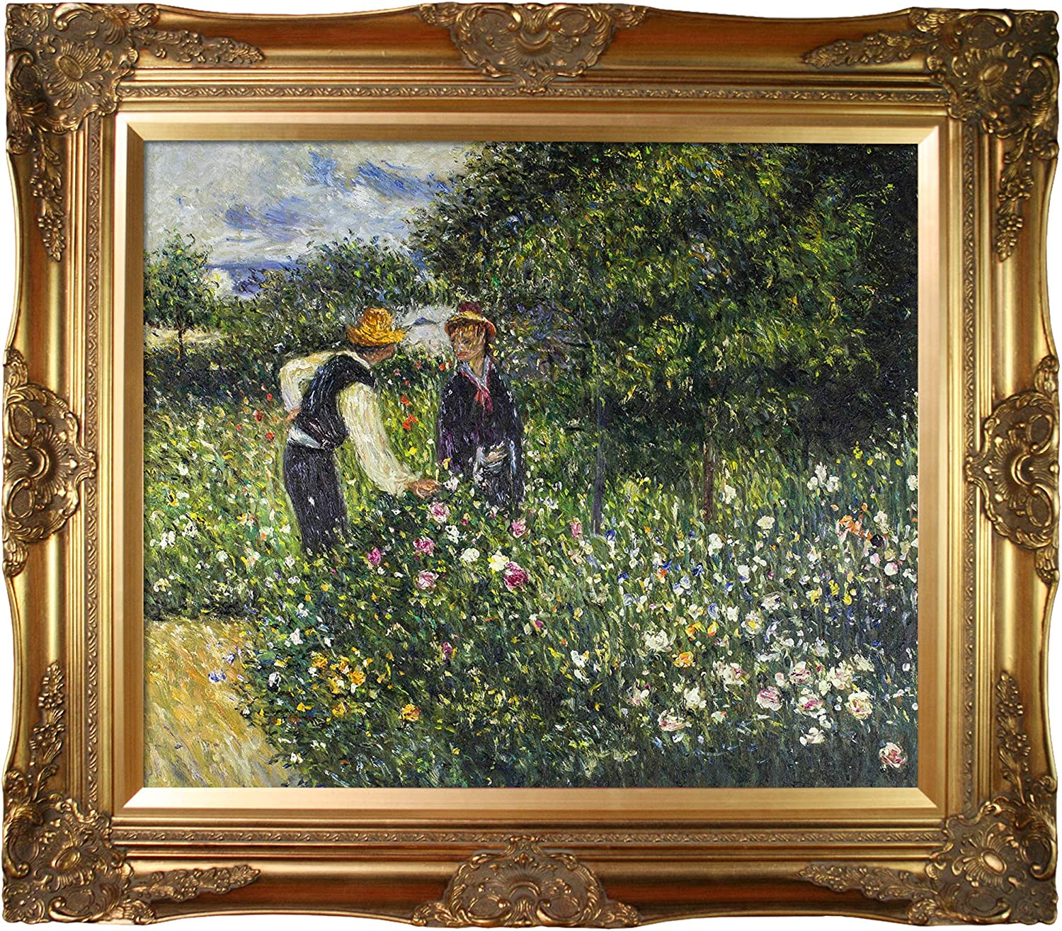 Gold overstockArt Picking Flowers 1875 by Pierre Auguste Renoir with Pearl Frame