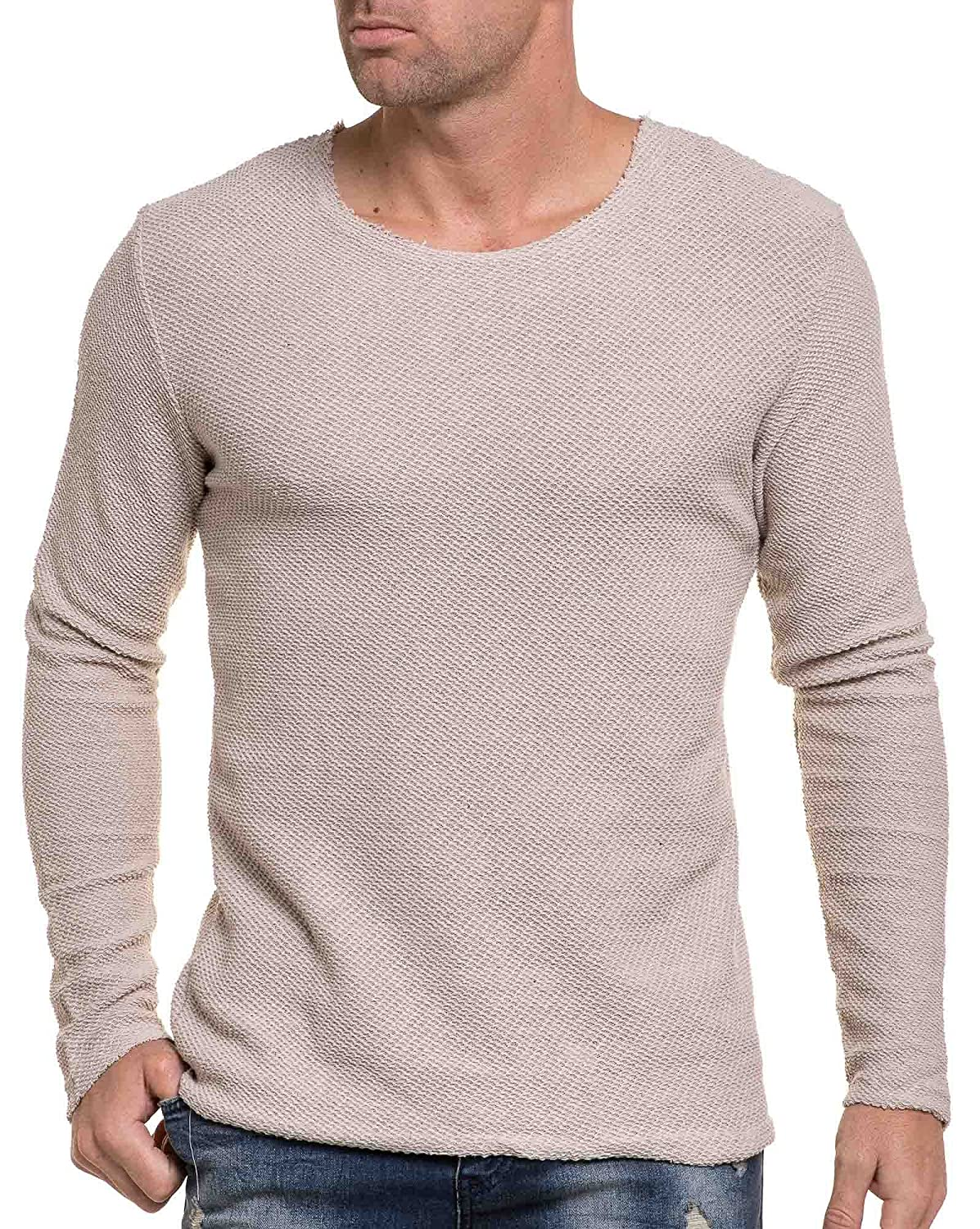 BLZ jeans - beige knitted sweater with wide round neckline