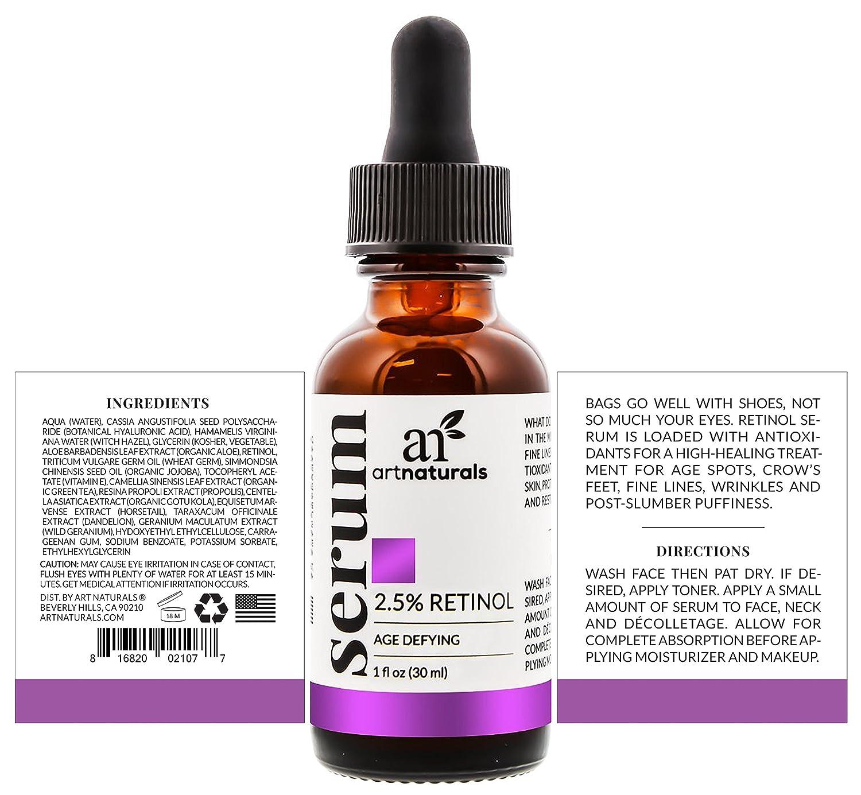ArtNaturals Sérum De Retinol - (1 Fl Oz / 30ml) - 2.5% Con 20% De Vitamina C Y Ácido Hialurónico. Sérum Antiarrugas Y Antienvejecimiento Para Rostro Y ...