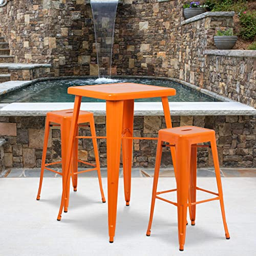 Flash Furniture 4 Pack Commercial Grade 30″ High Backless Orange Metal Indoor-Outdoor Barstool