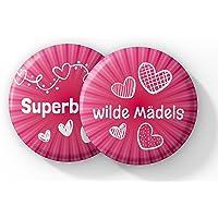 """Junggesellenabschied Frauen - 12 Stylische Buttons für die """"Superbraut"""" und ihre """"wilden Mädels"""" - Perfektes Junggesellinnenabschied (JGA) Accessoire für die Braut und das Team Braut"""