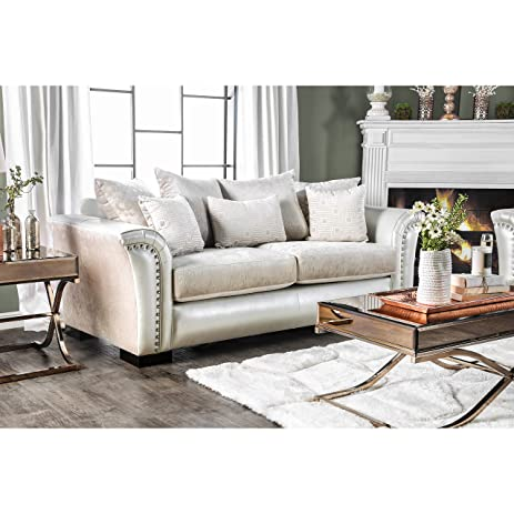 Charmant Furniture Of America Linwood Classic Contemporary Two Tone Sofa Silver