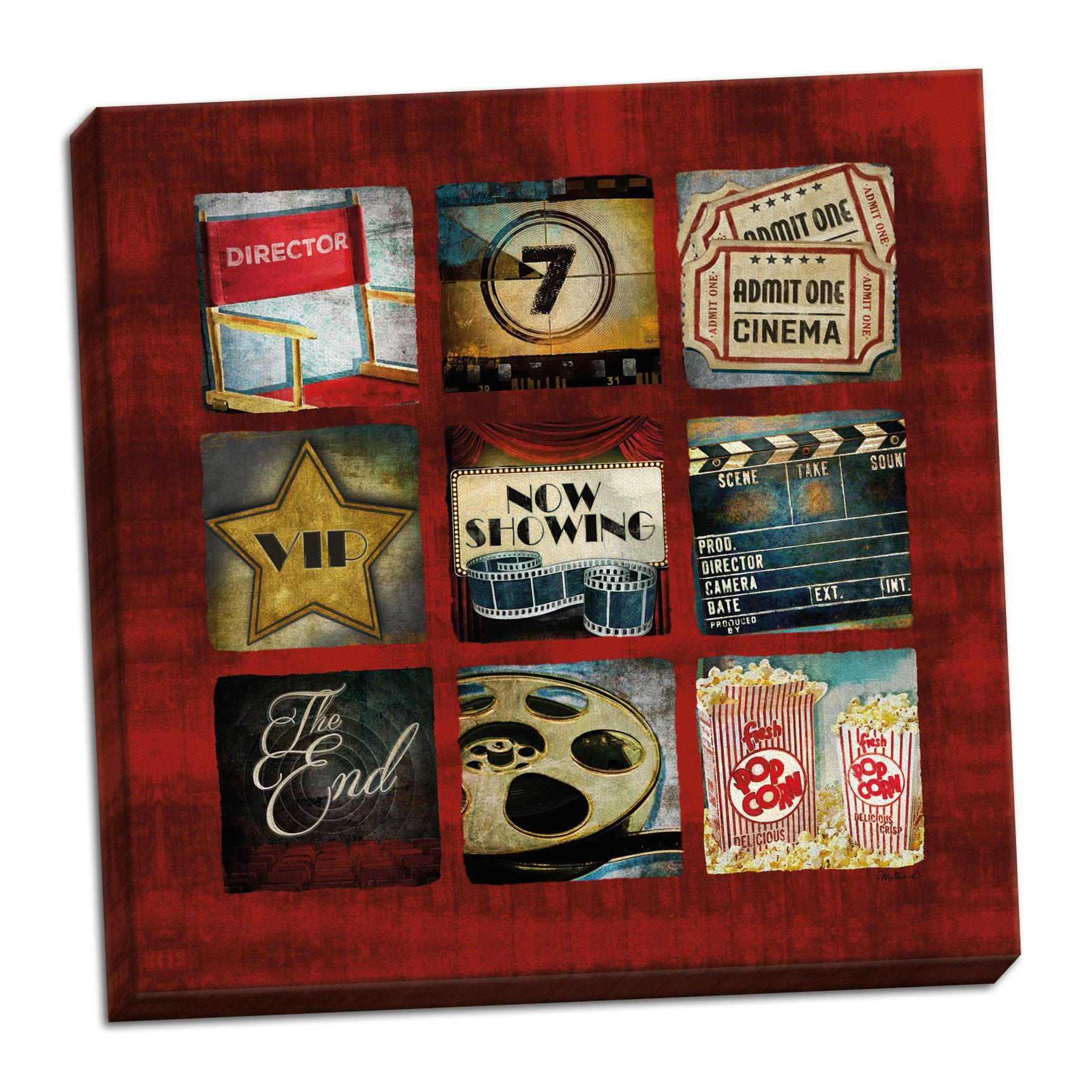 Gango Home Decor Contemporary Movie Collage by Mollie B. (Ready to Hang); One 12x12in Hand-Stretched Canvas