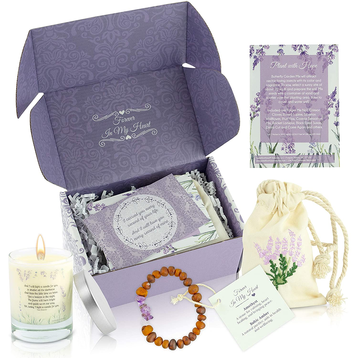 Card /& Gift Box Unique Remembrance Gift for Loss of a Baby Memorial Jewelry Flower Seeds Uplifting Loss of a Child Memorial Gift Express Your Sympathy 4-Piece Gift Set with Candle