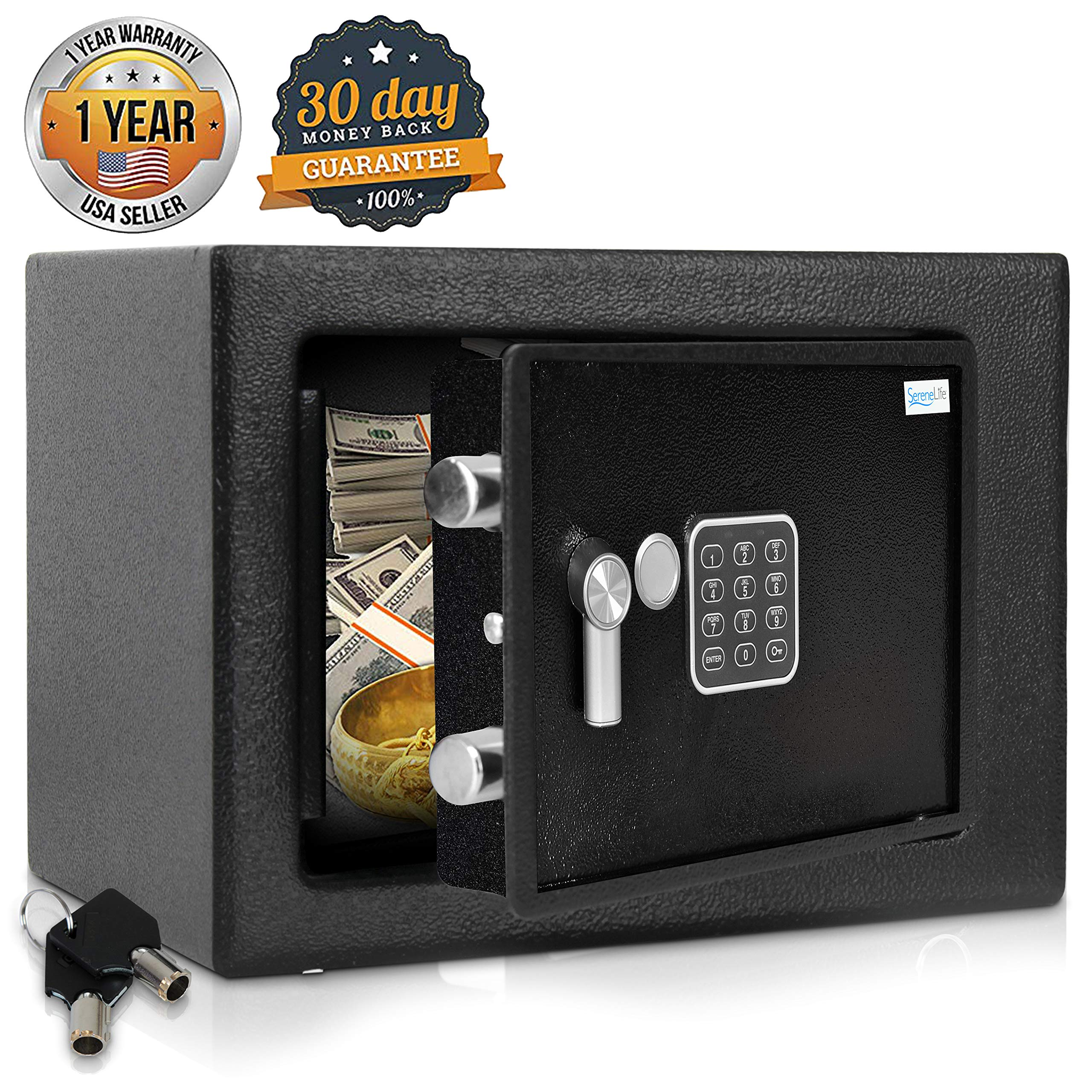 Home Security Electronic Lock Box - Safe with Mechanical Override, Digital Combination Lock Safe, LED Low Battery Indicator, Includes Mounting Bolts, Keys & (4) x 'AA' Batteries - SereneLife SLSFE15 by SereneLife