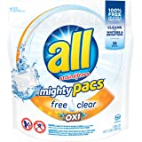 All Mighty Pacs, Free Clear Oxi, Super Concentrated Laundry Detergent Pacs, 38 Count