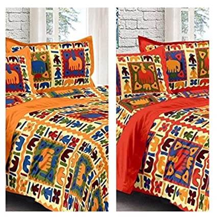 8db4ea71d4 Buy BED SHEETS COMBO PACK ( Modern Kart Traditional Rajasthani Jaipuri 100%  Cotton Multicolor 2 Double BedSheet With 4 Pillow Covers.) Online at Low  Prices ...