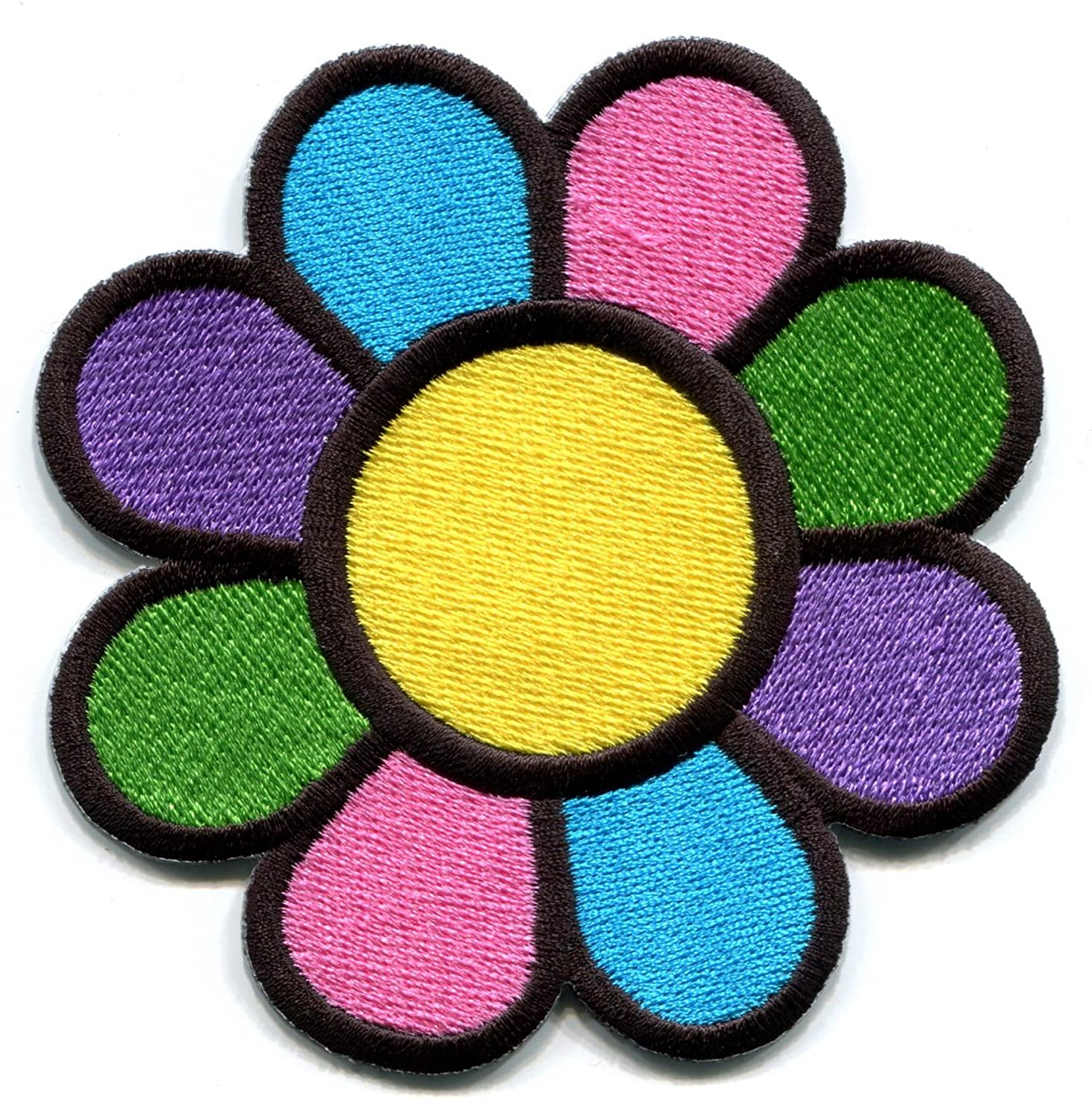 Flower power Summer of Love boho hippie retro peace weed embroidered applique iron-on patch new size Medium