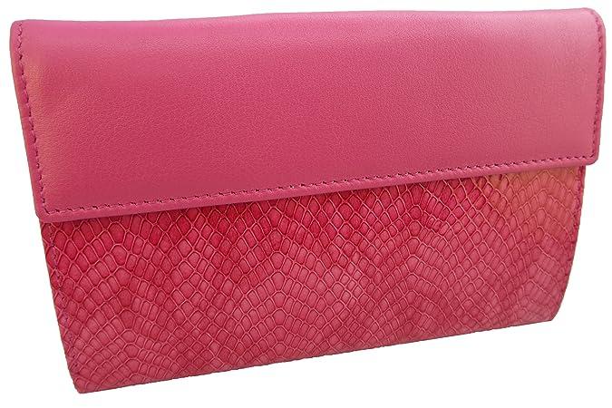 Cartera / Billetero de mujer elaborada artesanalmente con piel de alta calidad estampada diseño cocodrilo (Fucsia / Rosa): Amazon.es: Zapatos y complementos