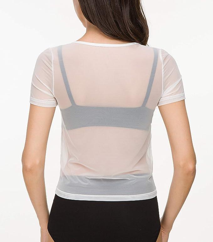 Amazon.com: Camisas de manga corta para mujer con malla ...
