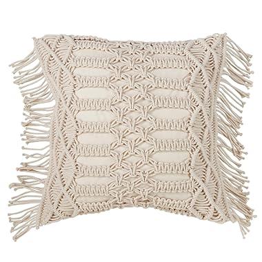 SARO LIFESTYLE Collection Cotton Down-Filled Macramé Throw Pillow, 18 , Natural