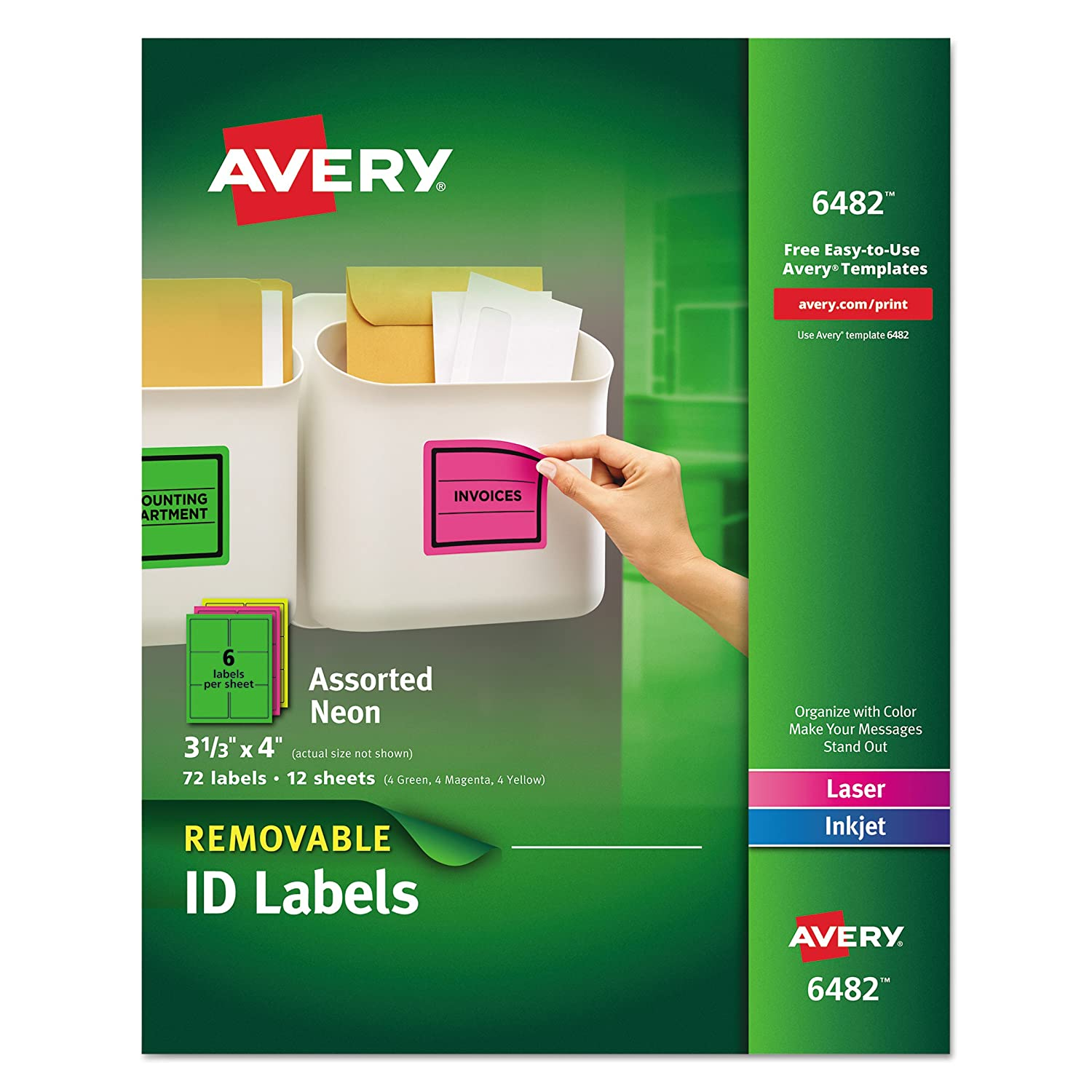 "Avery Removable Multipurpose Labels, Assorted Neon, 3 1/3"" x 4"""