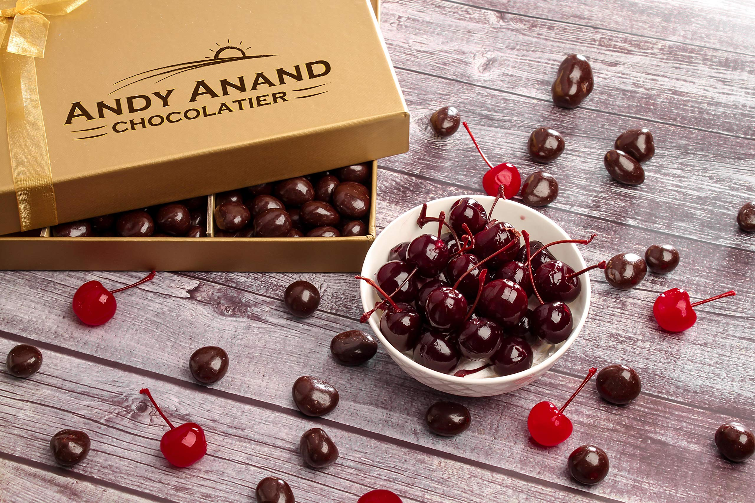 Andy Anand's California Dark Chocolate Covered Cherries 1 LB, for Birthday, Valentine Day, Gourmet Christmas Holiday Food Gift Basket, Thanksgiving, Mothers Fathers Day, Get Well Gift for Men & Women