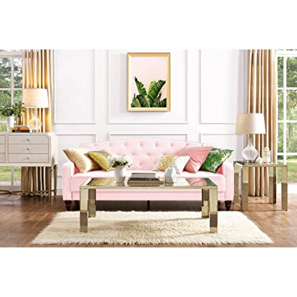 Exceptionnel Elegant 3 Easy To Convert Positions Vintage Tufted Sofa Sleeper II, Pink  Velour