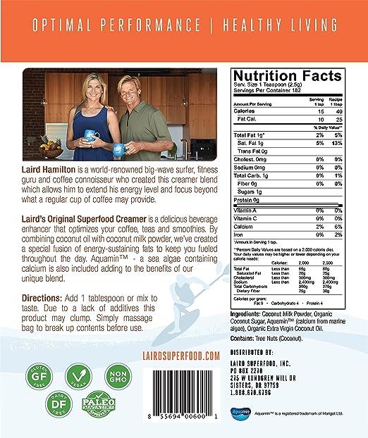Laird Superfood Crema de café - Original sin lácteos, Vegano, sin Gluten - 1 Lb: Amazon.es: Alimentación y bebidas
