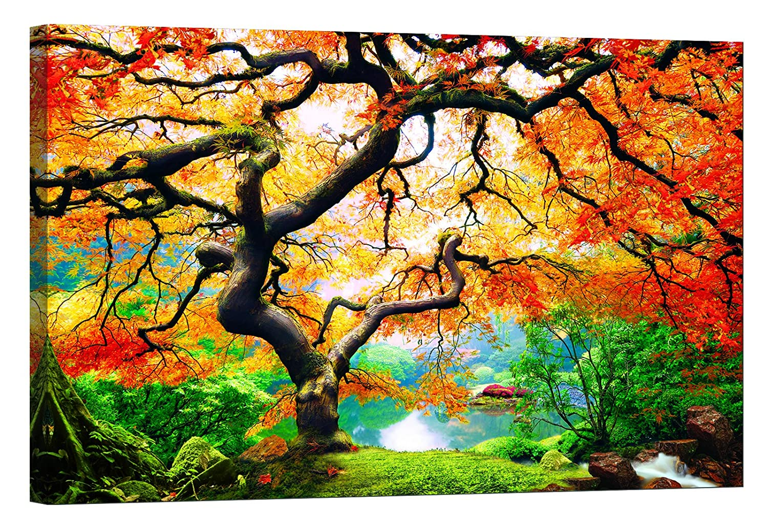 Lightfairy Glow In The Dark Canvas Painting Stretched And Framed Giclee Wall Art Print Forest Outdoor Maple Tree Master Bedroom Living Room