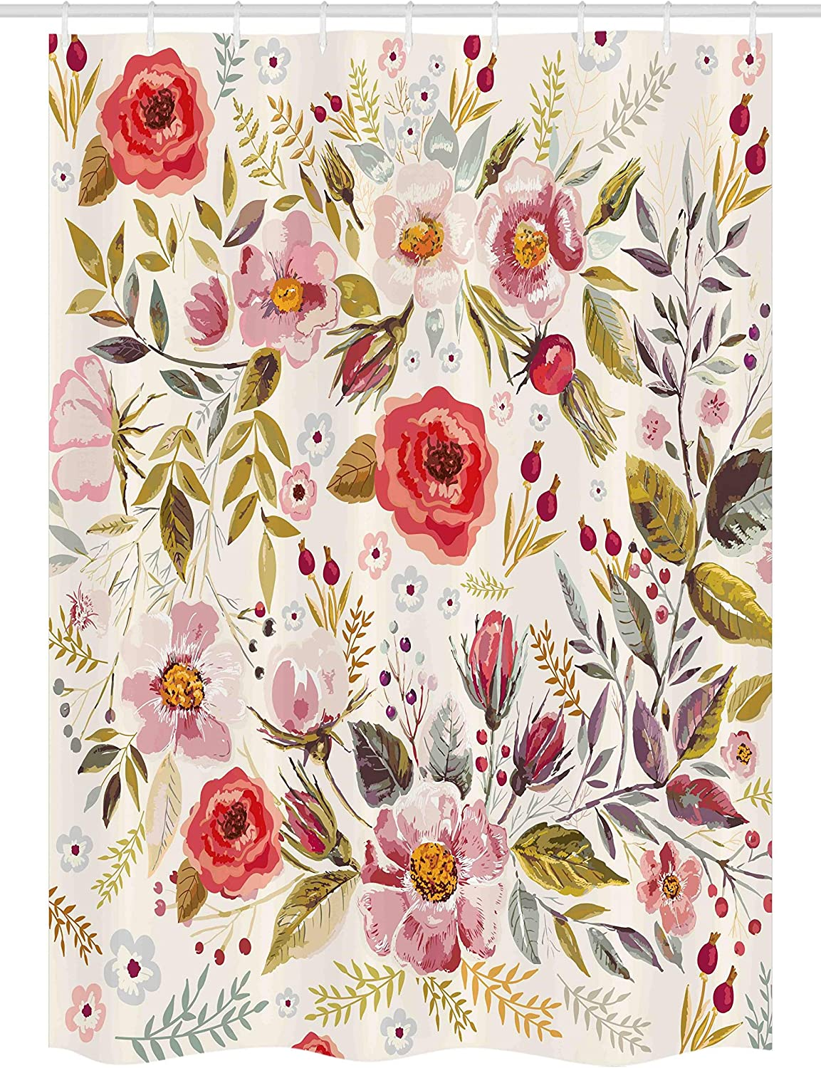 Ambesonne Vintage Stall Shower Curtain, Floral Theme Hand Drawn Romantic Flowers and Leaves Illustration, Fabric Bathroom Decor Set with Hooks, 54 W x 78 L Inches, Light Pink Red and Cream