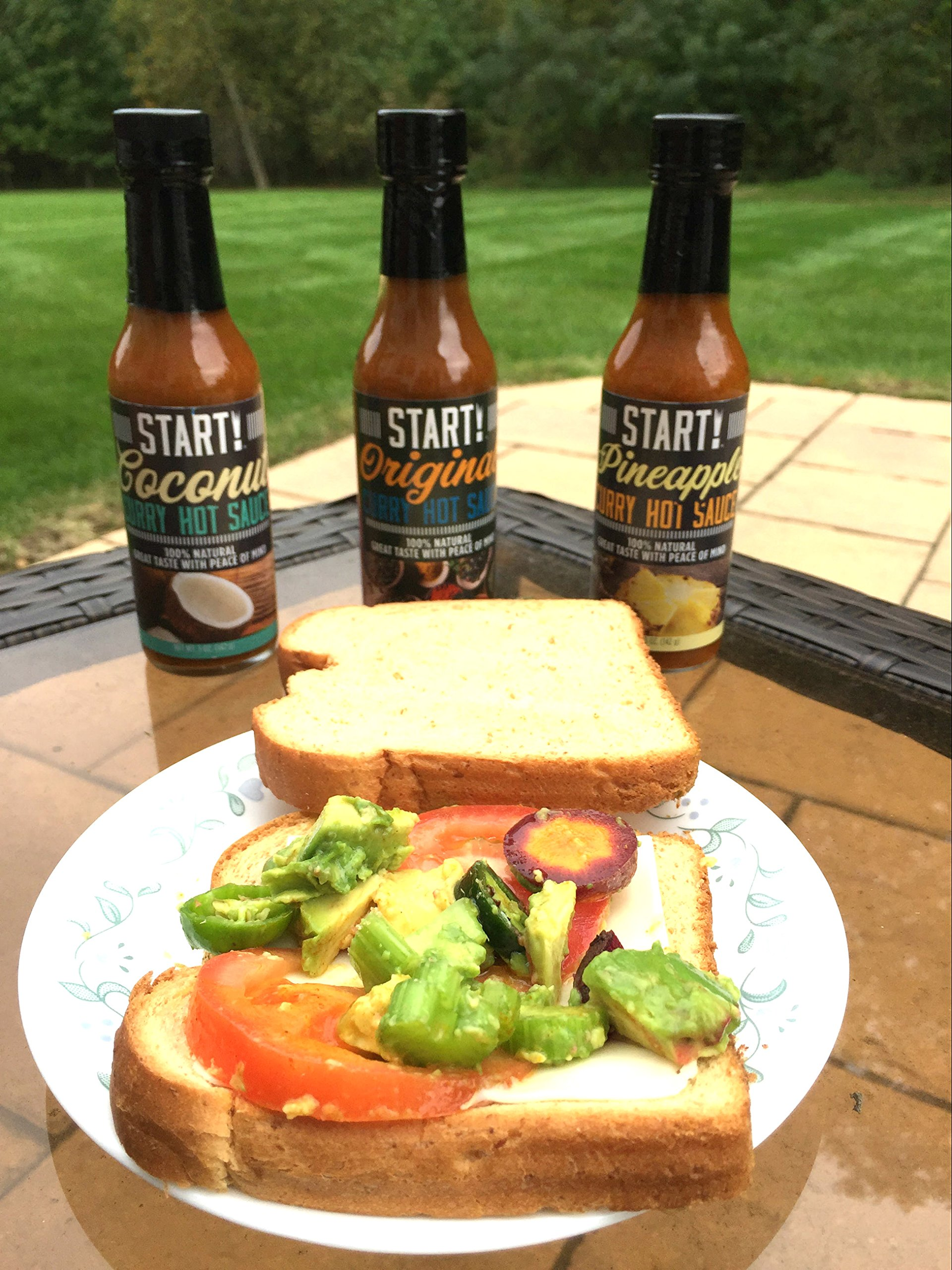START! Curry Hot Sauce - Variety Sampler Party Pack - Original, Coconut, and Pineapple Flavors - Vegan + Gluten Free - Everyday Gourmet Light Spice (12 pack) by Start (Image #4)