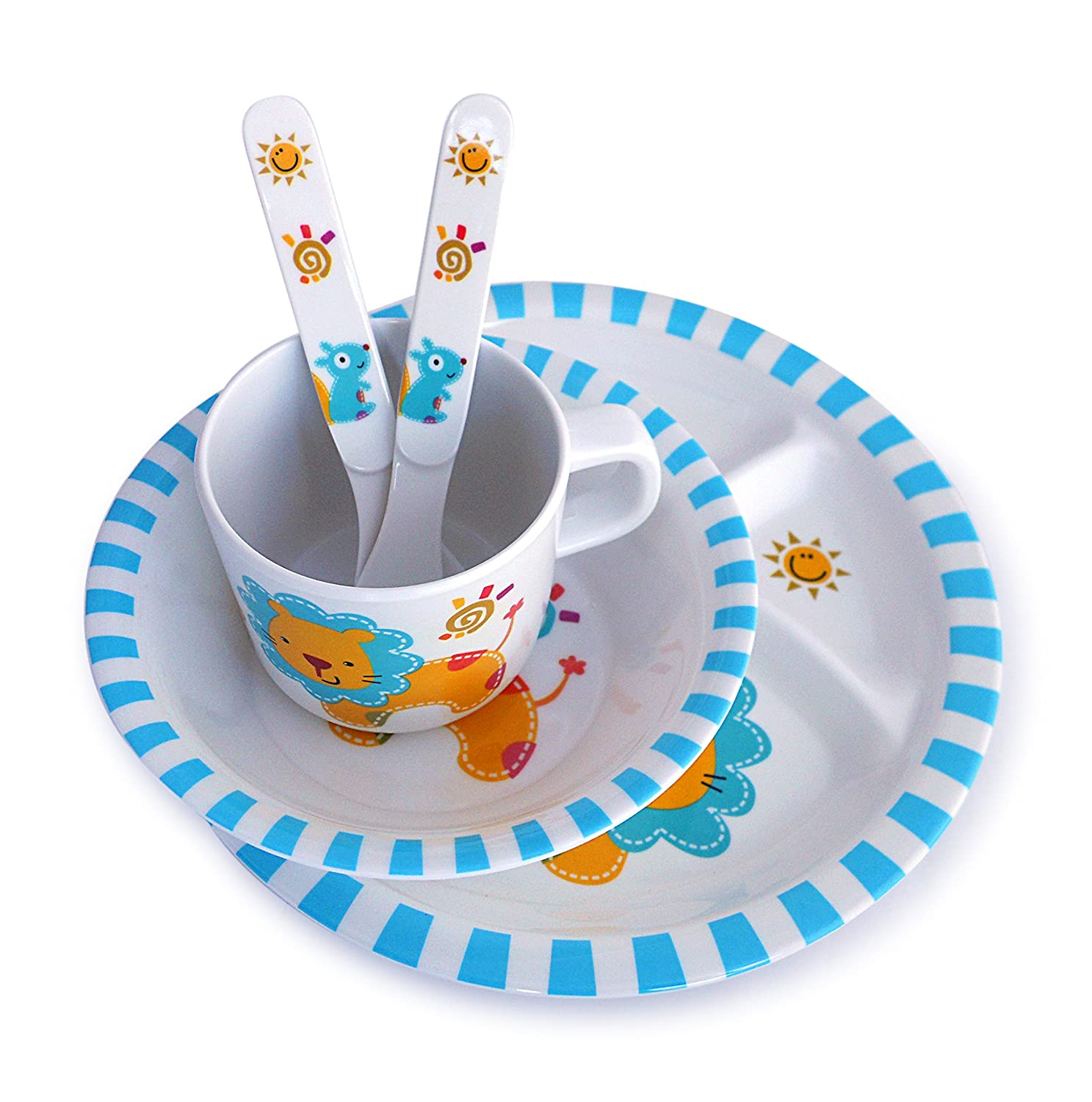 sc 1 st  Amazon.com & Amazon.com: Culina Kids Melamine Dinnerware - Lion. Set of 5: Baby