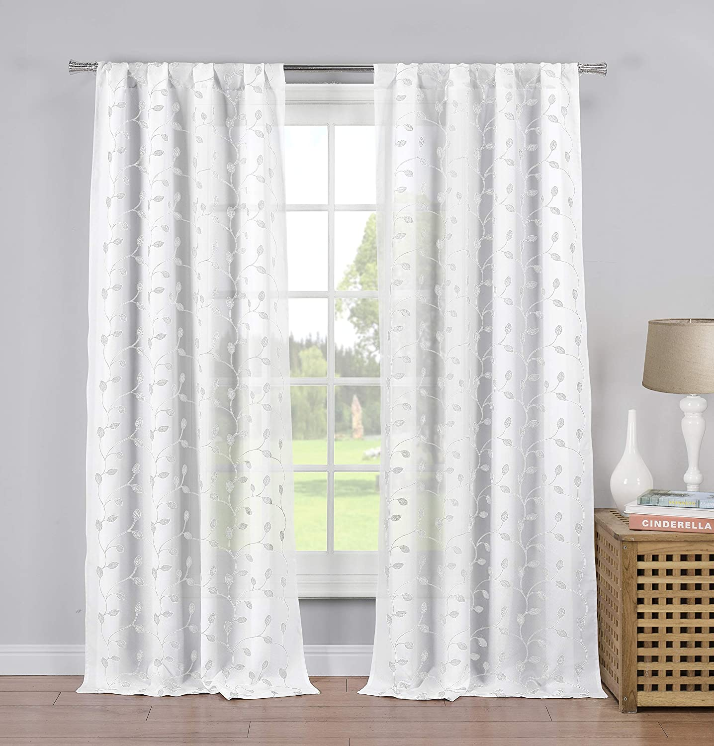 Home Maison Kira Leaf Window Curtain, 36X63, White-Silver