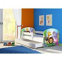 Clamaro 'Fantasia Weiß' Kinderbett mit Rausfallschutz (38 Motive + Wunschname)