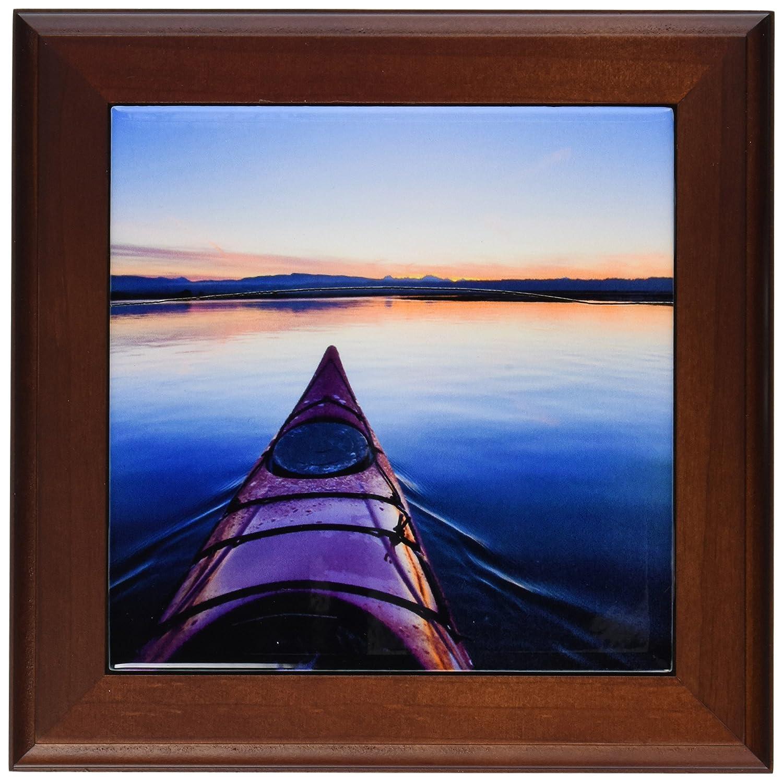 3dRose ft_95680_1 Washington Kayak at Sunrise into Skagit Bay Luhm Framed Tile, 8 by 8-Inch, Gray