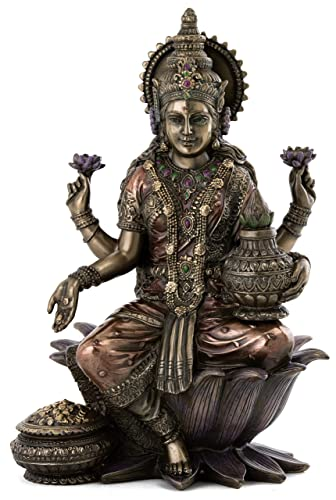 Top Collection Lakshmi Statue Seated on Lotus Platform – Goddess of Wealth, Prosperity, Wisdom, and Fortune Sculpture in Premium Cold Cast Bronze – 7-Inch Collectible Hindu Figurine